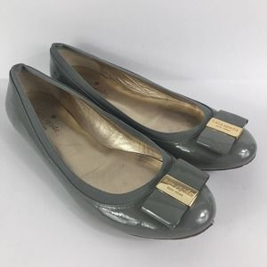 Kate Spade Tock grey patent ballet flats front bow